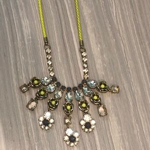 J. Crew neon yellow cord necklace with flower gems